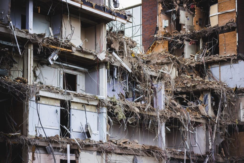 Demolition of neglected properties (partially-demoed home)